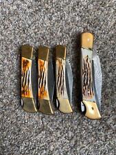 Lot of 4 Handmade Damascus Steel Folding Pocket Knife (Defective Lock No Sheath)