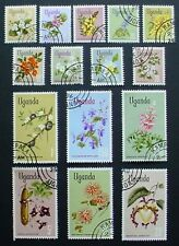 UGANDA 1969: FLOWERS: 15 USED STAMPS TAKEN FROM PRECANCELLED SHEETS NO GLUE