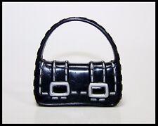 Barbie My Scene Monster High Plastic Doll Handbag Purse Black w Silver Buckles