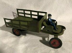 Kingsbury Wind Up Pressed Steel Toy Stake Truck