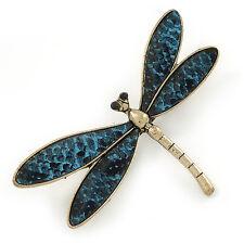 GOLD Tone Color Foglia Di Tè Blu Serpente Stile Finta Pelle Libellula Spilla - 70mm W