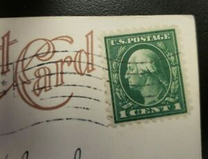 Rare Green 1 cent George Washington Stamp one cent on Postcard 1916 July 27