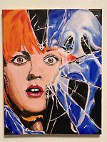 Drew Barrymore Scream Ghostface hand painted portrait signed fan art hooror film