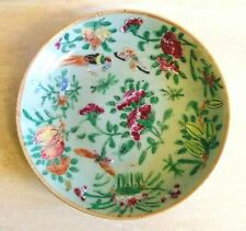19th Century Chinese Canton Celadon Plate Famille Rose