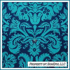 BonEful Fabric FQ Cotton Amy Butler Rowan Belle Aqua Blue Flower Damask Toile Lg