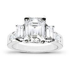 New 2.97 Ct Emerald Cut Diamond & Princess Engagement Ring F,VVS1 EGL Platinum