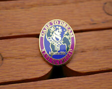 Dare to Dream Atlanta 1996 XXVI Olympiad Torch Globe Rings Stars Olympic Pinback