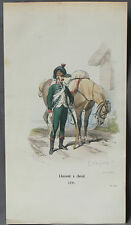GRAVURE COULEUR- CHASSEUR A CHEVAL 1791 -19 éme