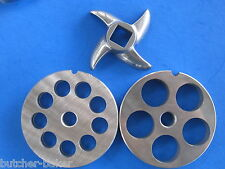 "3-pc #22 Meat Grinder plate disc knife 1/2"" & 3/4"" SET Hobart LEM Cabelas etc"