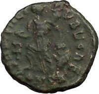 ARCADIUS 388AD Ancient Roman Coin VICTORY Nike  Chi-Rho Christ Monogram i36366