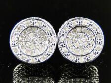 New Mens Round White Finish White Diamond 12 Mm Round Studs Earrings 1/2 Ct