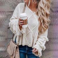 Women's V Neck Tassel Bell Long Sleeve Boho Loose Kimono Knit Pullover Sweater