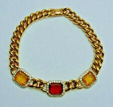 Vintage Collier valentino italia dorado pedrería statement Necklace
