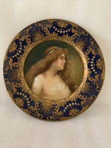 Antique Vienna Art Tin Litho Lady Portrait Plate Cobalt Blue & Gold HD Beach Co