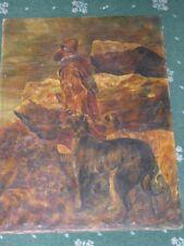 More details for large antique scottish deerhound dog oil painting signed & dated 1908 hound