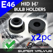 *2x XENON HID H7 BULB HOLDERS BMW E46 3 Series BLACK ADAPTORS PAIR