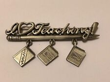 Vintage Signed JJ Silver Pewter I Love Teaching Brooch Pin w Book Charms