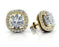 Cushion Simulated Diamond Halo Stud Earrings Solid 10k Yellow Gold 4.34 Ctw