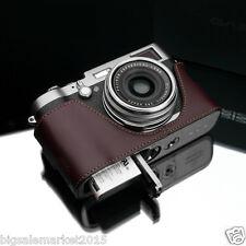 GARIZ Leather Half Case + Wrist Strap Set Brown for FUJI X100T & X100S & X100
