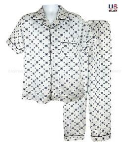 Mens Cotton Pajamas Set 2Pcs Top & Bottom Short Sleeve Sleepwear with Pant Night