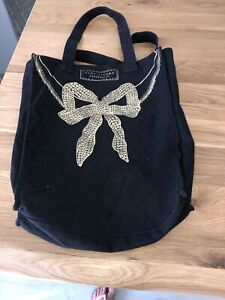 Designer Marc Jacobs 'Fragrances' black cotton canvas bag gold bow Tote Shopping