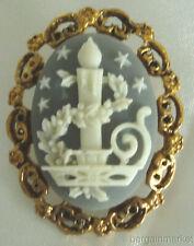 Vintage Christmas Candle Cameo Brooch