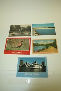 Vintage POST CARDS 5 Pc Lot MICH OH WI Travel Americana History 1917 Paddlewheel