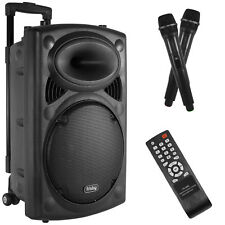 Bluetooth Karaoke Stereo Speaker System w/ Wheels, Handle & 2 Microphones