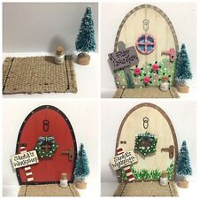 Handmade Christmas Tree Fairy Door Accessory Set, Tree, Door Mat & Milk Bottle