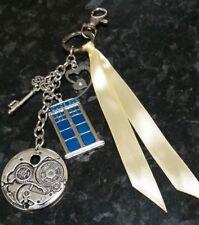 Dr Who Tardis keyring, handbag bag charm - handmade & unique - two hearts