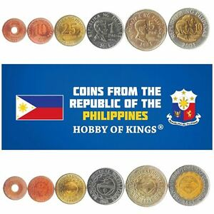 Set 6 Coins Philippines 5 10 25 Sentimos 1 5 10 Peso 1995 - 2017