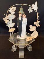 Vintage 1930's-1940's Wedding Cake Topper Ceramic Bride Groom Clear Lucite Base