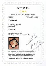 ★ EDIFIL 3. ISABEL II - 5 REALES ROJO CON DICTAMEN C.M.F. (+405€) ★