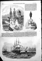 Old Antique Print Cronstadt Cathedral Observatory Statue Peter Great 1854 19th