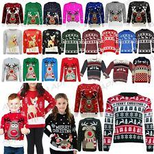 Kids Boys Girls Children Unisex XMAS Christmas Jumpers Knitted Reindeer Rudolph