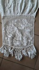 un rideau ancien coton blanc decor crochet ange@curtain old