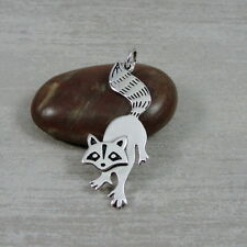 925 Sterling Silver Raccoon Charm - Fox Raccoon Pendant Jewelry New