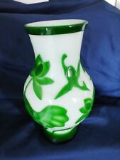 Chinese Pekin Glass Vase Green & White 9""