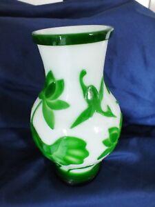 """Chinese Pekin Glass Vase Green & White 9"""""""