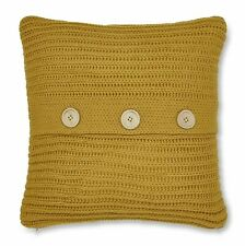 Catherine Lansfield Chunky Knit Ochre Cushion Cover 45cm