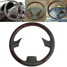 Grey Leather Wood Steering Wheel Cover Cap 99-03 Lexus RX300 GS300 GS400 GS430