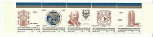 Mexico: Scott 1408a strip of 5 light rust - national university of Mexico. ME09/