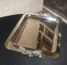 TRAY Silver plated Gorgeous thick Grape cluster handles well made top quality