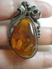 Vtg Antique Gift~1930 Deco Sterling Silver Baltic Amber Brooch Pin~Bn~Free Ship