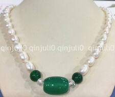 High quality 7-8mm Akoya freshwater Rice pearl & Green agate necklace long 18""