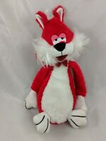 "Red Dog Cat Plush 12"" White Vintage Stuffed Animal"