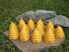 12 Hand Poured 100% Beeswax Skep Beehive Votive Candles All-Natural, Cotton Wick