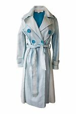*MARC JACOBS* BLUE GLAZED AND CRACKED LEATHER TRENCH COAT (US 6)