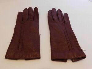 *DESIGNER LADIES BROWN LEATHER DRESS GLOVES SILK LINING SIZE 6.5