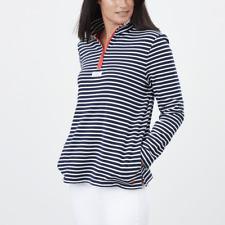 Joules Pip Womens Casual Half Zip Sweatshirt - Navy Cream Stripe